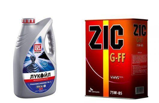 Фото жидкостей от Лукойл ТМ-5 и ZIC G-FF для коробки передач