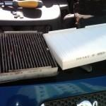Фото старого и нового салонного воздухоочистительного элемента
