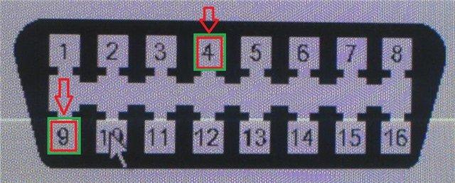Замыкание 4-го и 9-го контакта на диагностическом разъеме