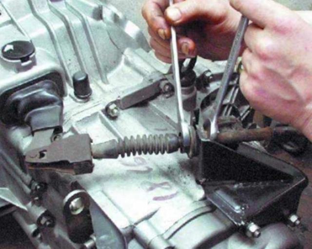 Регулировка внутренней и внешней гайки тросика после его установки при помощи гаечных ключей на «17»