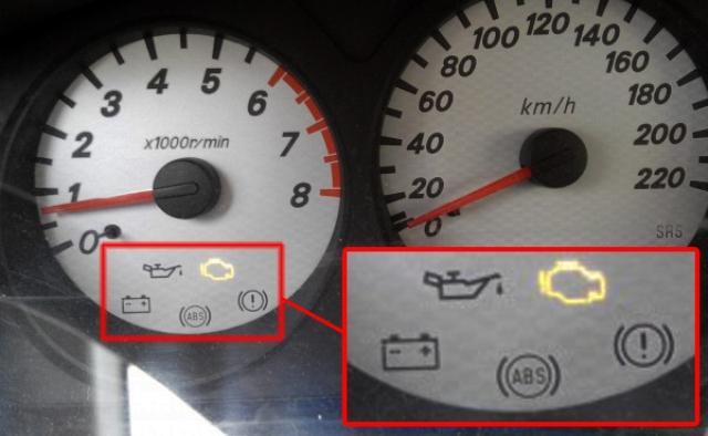 Загоревшаяся на приборной панели лампочка Check Engine (помечается оранжевым цветом) говорит о появлении неисправностей в автомобиле Mitsubishi