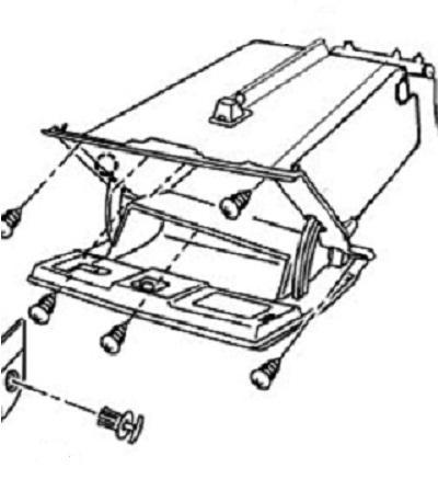 Схема расположения саморезов перчаточного ящика