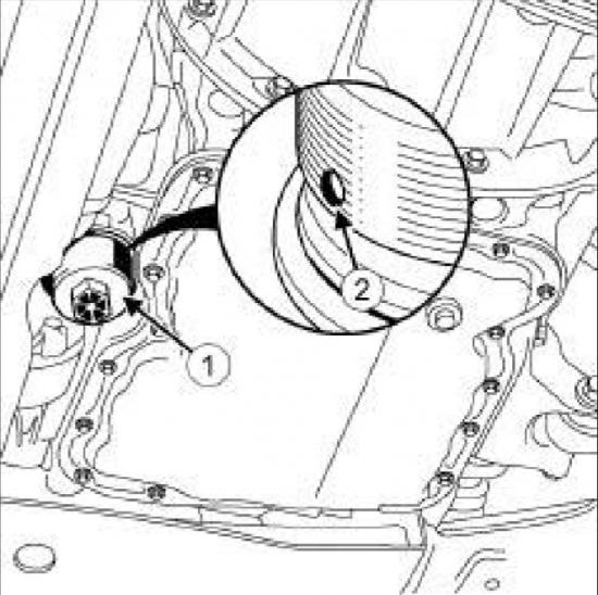 Указание крышки фильтрующего элемента и отверстия слива
