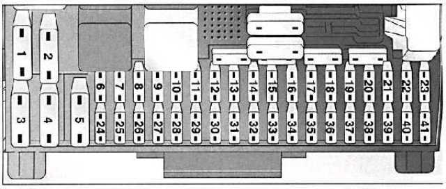 Электросхема расположения плавких компонентов БП, расположенного в салоне транспортного средства Вектра Б