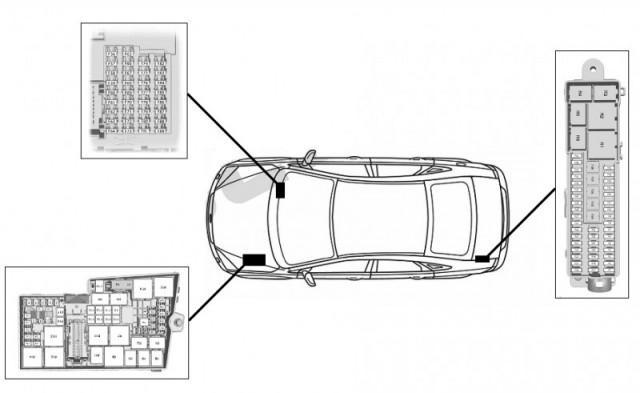 На схеме отмечены места расположения блоков в автомобиле Фокус 3. Один находится под капотом, второй - в салоне автомобиля, а третий - в багажнике