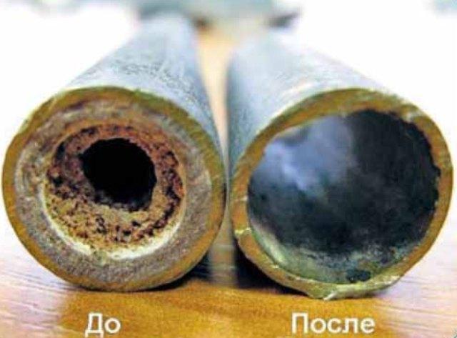 Трубки радиатора до и после промывки