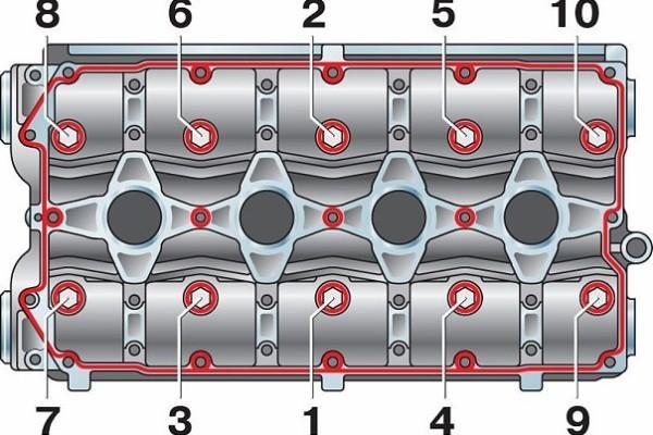 Цифрами отмечены элементы мотора, которые следует затянуть