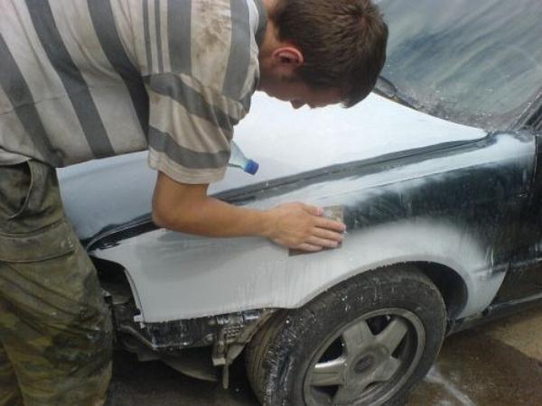 Шлифовка машины перед покраской
