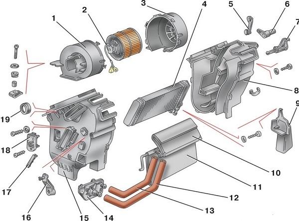 Схема отопителя ВАЗ 2114