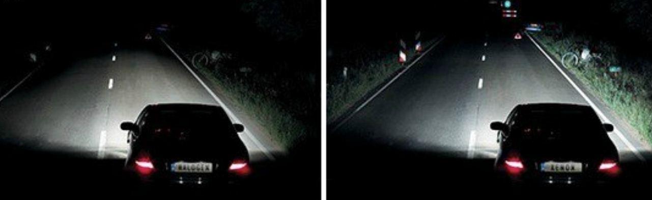 Разница в освещении галогенками и светодиодами