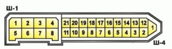 Штекеры Ш1 и Ш4 для подключения приборной панели