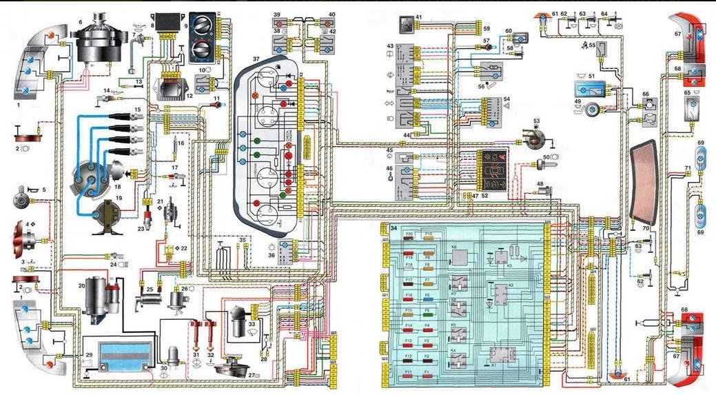 Общая схема проводки для 2111