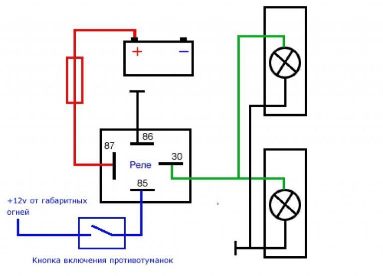 Схема подключения кнопок управления противотуманками