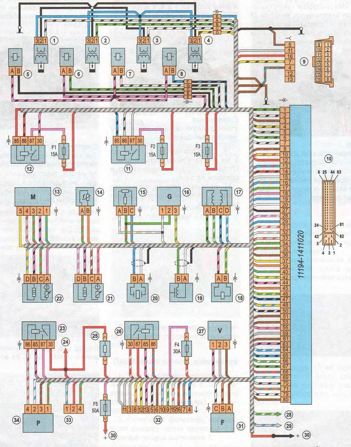 Схема системы управления двигателем