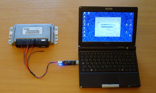 Прошивка ЭБУ, подключенного к ноутбуку