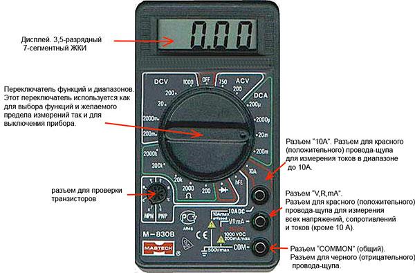 Устройство и обозначение кнопок мультиметра