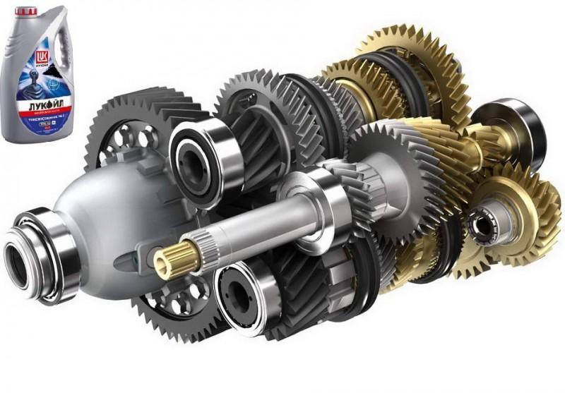 Фото механической коробки передач и продукта Лукойл