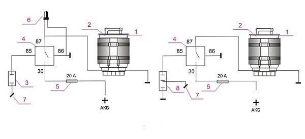 Схема установки подогревателя