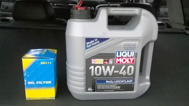 Моторное масло Liqui Moly MoS2 в четырехлитровой упаковке вместе с масляным фильтром