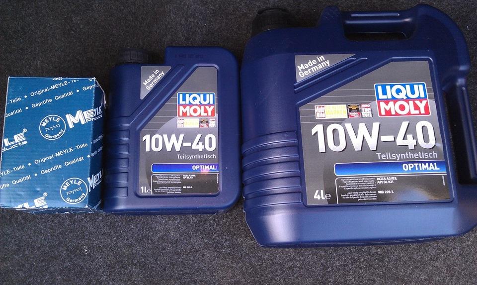 Моторное масло Ликви Моли в литровой и четырехлитровой упаковке вместе с масляным фильтром