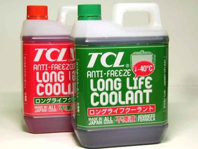 Охлаждающие жидкости для автомобильных систем TCL Long Life в пятилитровых упаковках японского производства. Эти антифризы соответствуют международным классификациям G-11 и G-12