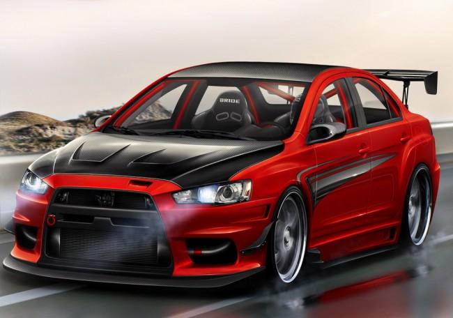 Красный автомобиль Mitsubishi Lancer