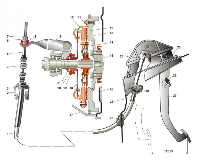 Схема механизма с обозначением