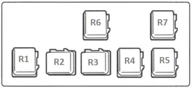Схема реле, установленных в блоке, который находится в подкапотном пространстве, слева от двигателя