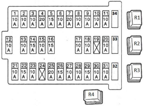 Схема расположения плавких предохранителей на БП, установленном в салоне автомобиля