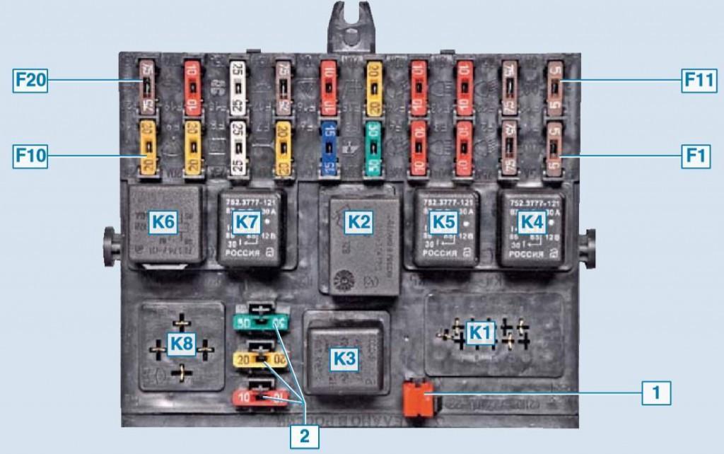 Схема расположения элементов в монтажном блоке Нива Шевроле.