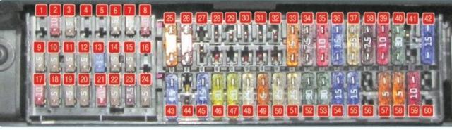 Схема БП Фольксваген Поло Седан 2011 - 2014 года выпуска, расположенного под рулевым колесом авто