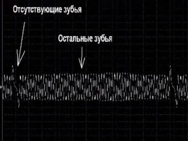 Показание осциллографа датчика коленвала