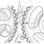 2. Метки на шестеренках распределительных шкивов совмещены
