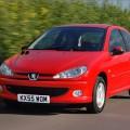 Красный автомобиль Пежо 206