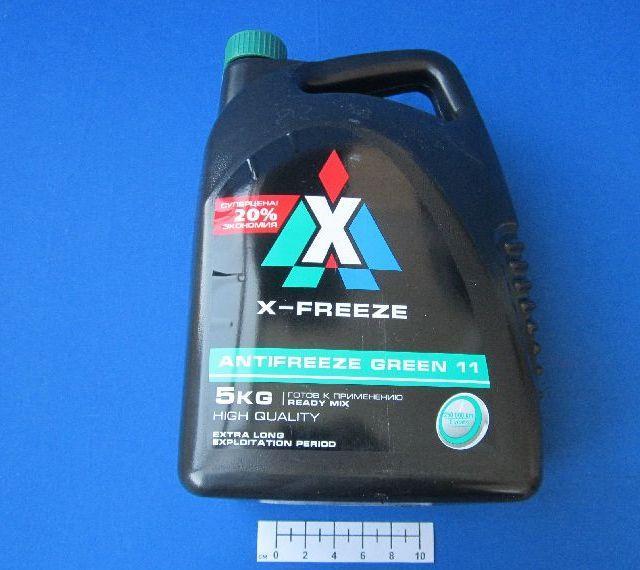 Хладагент X-Freeze зеленого цвета в пятилитровой упаковке