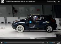 Краш-тест Nissan Juke small overlap 2011 и 2014 (IIHS)