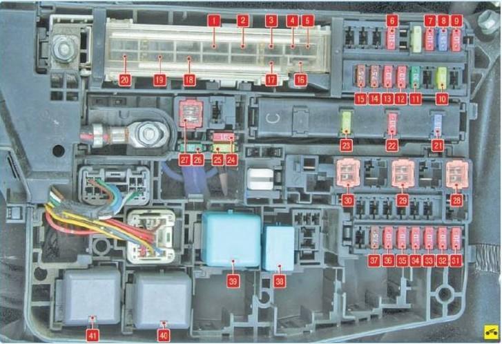Схема БП под капотом с нанесенными цифровыми обозначениями элементов прибора
