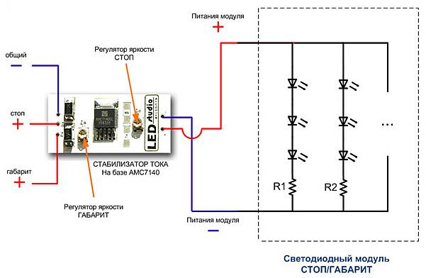 Схема подключения модуля для стоп-сигналов и габаритов