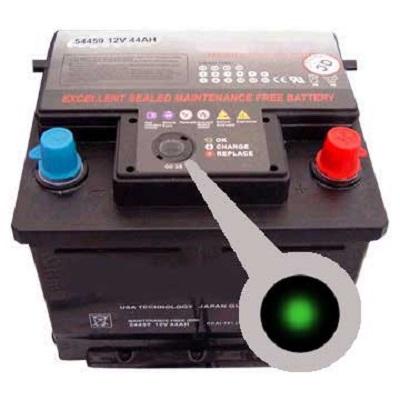 Зеленый цвет индикатора - признак исправности АКБ
