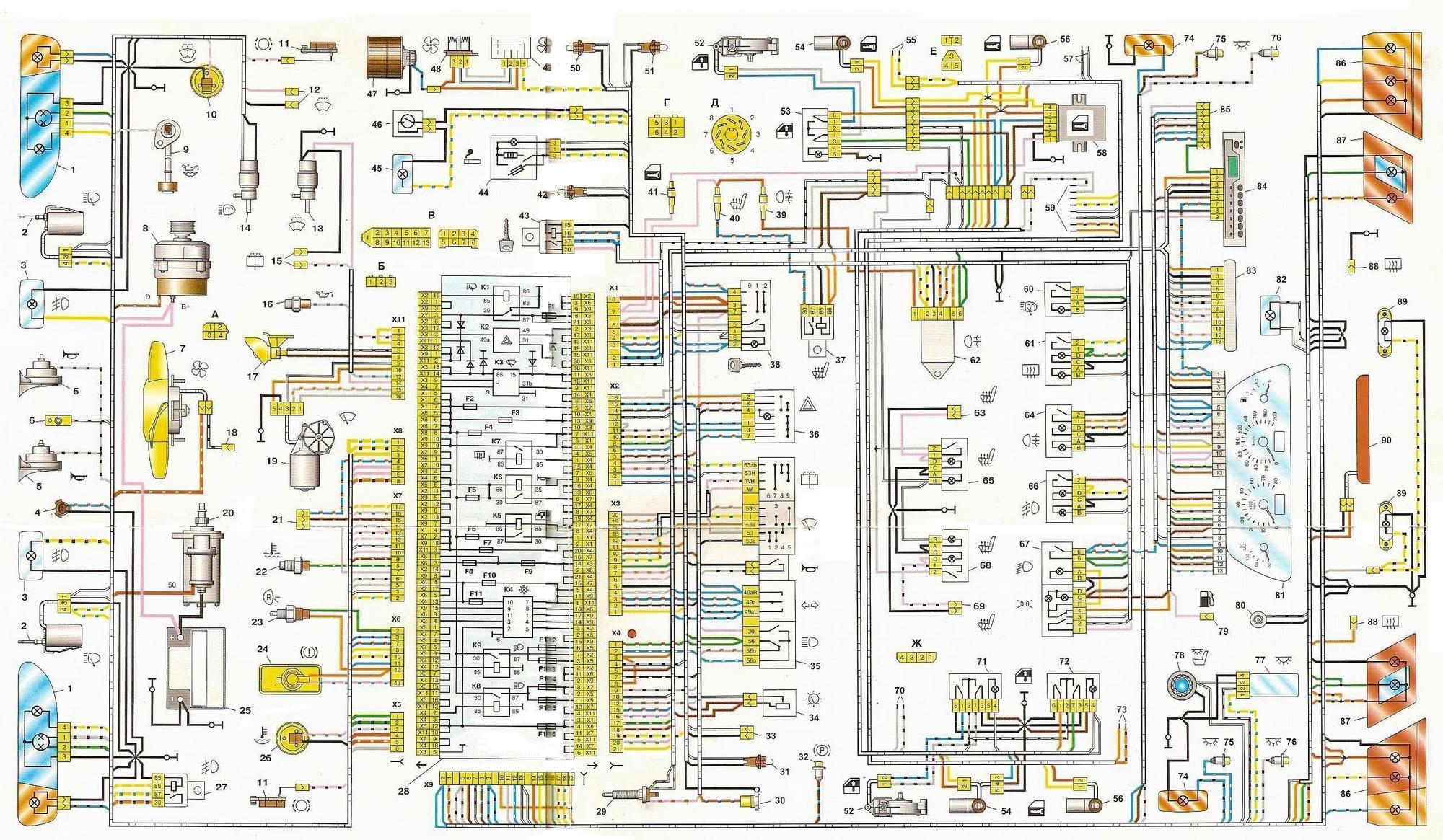 Схема проводки на «пятнадцатой» Ладе