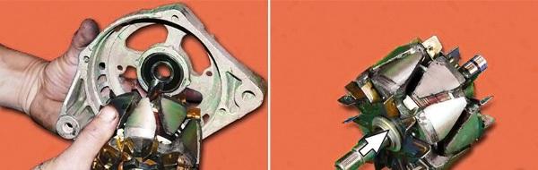 Демонтируйте ротор, снимите опорное кольцо.