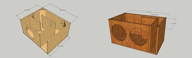 Коробка для корпусного фазоинверторного сабвуфера
