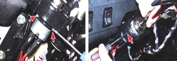 Отворот болтов слева и справа от переключателя, выдавливание фиксатора шилом