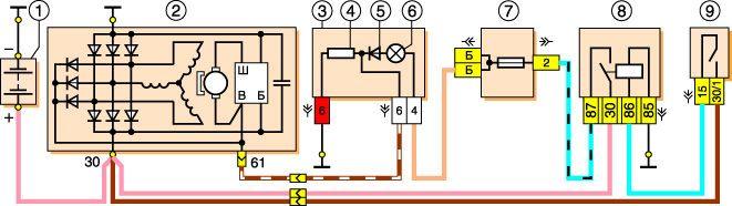 Схема проводки генератора 2121