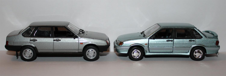 Игрушечные модели ВАЗ 21099 и ВАЗ 2115