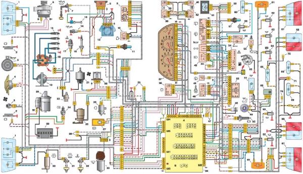 Электрическая схема проводки автомобиля 2110