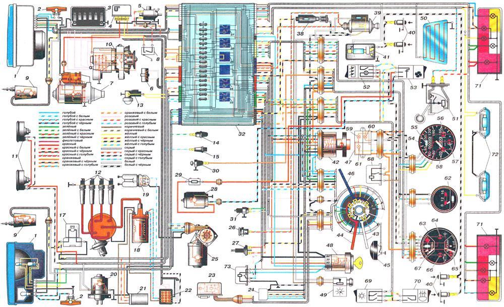 Полная электросхема для отечественной «пятерки»