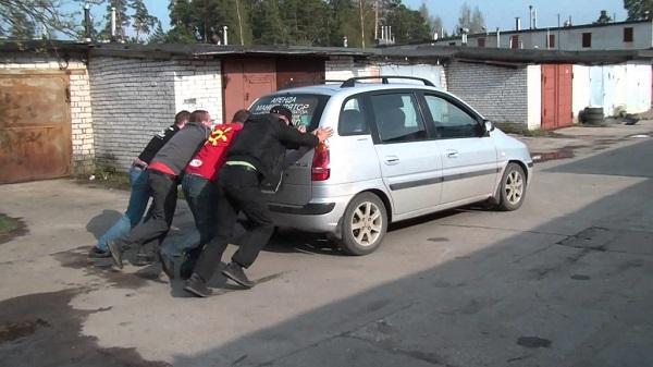 Заведение авто с толкача