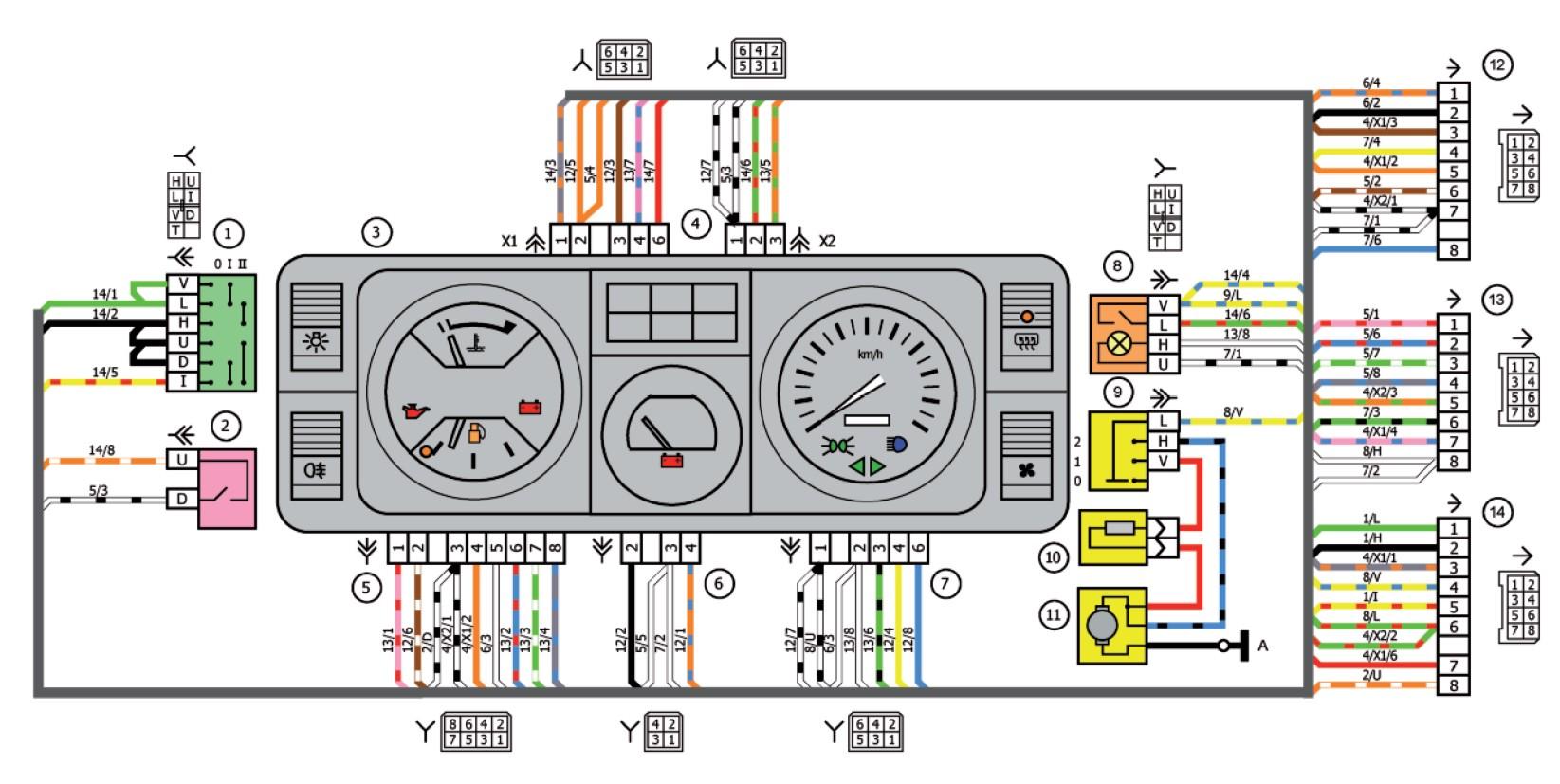 Схема подключения приборной панели для «пятерки»
