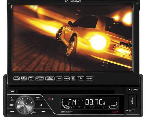 Автомагнитола с выдвижным дисплеем Soundmax